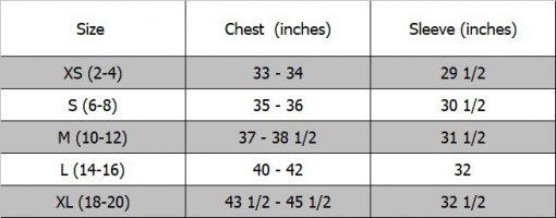 NIJ IIIA Bulletproof Woman's Barn Coat size chart