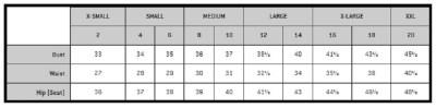 NIJ IIIA Bulletproof Woman's Raven Vest Size Chart