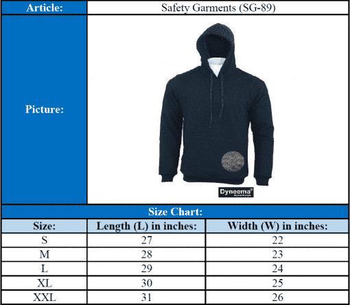 Size Chart Cut & Slash Resistant Hoodie