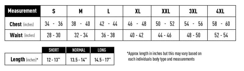 VEST MEASUREMENT CHART