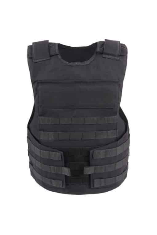 Commander™ overt bullet and stab resistant vest black with molle front