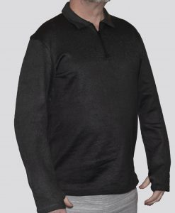 Cut-Tuff™ Cut Resistant Half Zip Polo-Neck Long Sleeved Shirt Grey