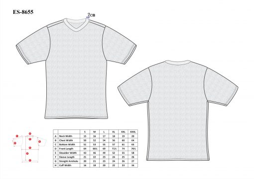 Cut-Tuff™ Cut and Slash Resistant V-Neck Short Sleeve T-Shirt Size Chart