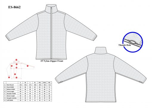 Cut-Tuff™ Cut, Slash and Bite Resistant Full-Zip Jacket Size Chart