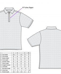 Cut-Tuff™ Cut and Slash Resistant Half-Zip Polo-Neck Short Sleeve T-Shirt Size Chart