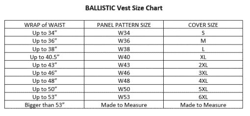 Bullet Resistant T-SHIRT size chart
